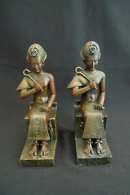 VINTAGE SET OF 2 EGYPTIAN WOMAN FIGURINE BOOKENDS DESIGNER BRONZE COMPOSITE HVY