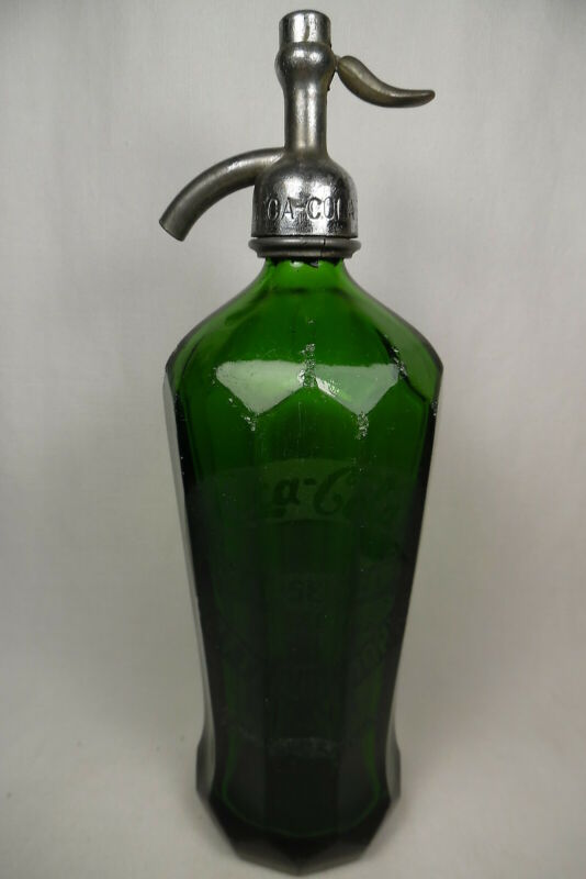 VINTAGE SELTZER  BOTTLE COCA COLA GREEN CLUB SELTZER BOTTLING WORKS