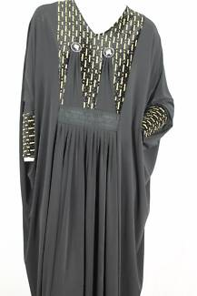 Long Black Abaya with Decorated bodice and gathered waist