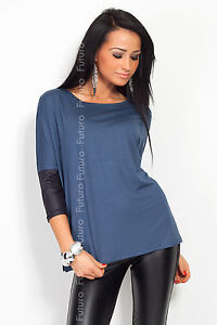 ☼ Trendy Women's Top Blouse Eco Leather ☼ 3/4 Sleeve Tunic Crew Sizes 8-18 8085
