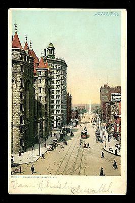 Buffalo, New York NY Vintage postcard Niagara Street Trolley Car Niagara Street Buffalo