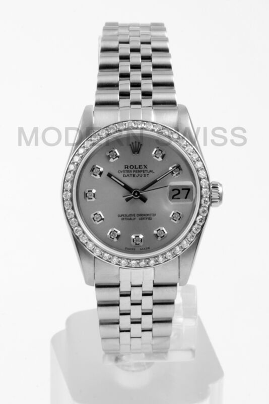 Rolex Ladies Midsize Datejust Steel Silver Diamond Dial Bezel Jubilee Quickset 2