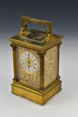 E.M & Co. French Gilt Bronze Repeater Carriage Clock with Fancy Openwork and Key
