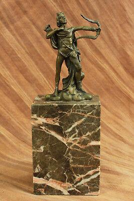 (Rare Male Nude Hunter Apollo Archer Bow Arrow Bronze Marble Statue Music God Art)