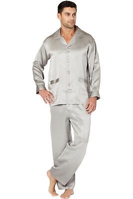 Mens Houndstooth Silk Jacquard Pajama Set, Silver, Large