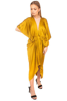 RRP €345 KITX Satin Draped Dress Size 8 Pleated Gathered High Low Plunge Neck