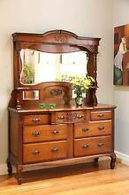 Antique Art Nouveau Carved Walnut Mirror back Sideboard / Buffet Williamstown Hobsons Bay Area Preview