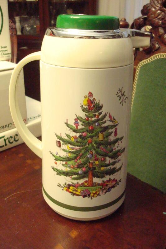 "Spode thermo/jar ""Christmas Tree"" pattern 10""tall, original box [2r]"