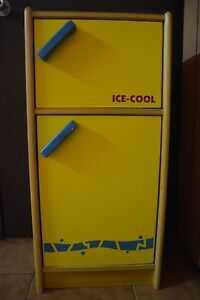 Kitchen Toy - Santoys Wooden Fridge (Yellow and Blue) St Albans Brimbank Area Preview