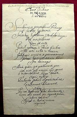 1658 Erik DAHLBERG - Feldmarschall - Festungsbaumeister - Logbgedicht auf KARL X