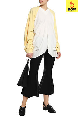 RRP €725 J.W.ANDERSON Top Blouse Size 6 / XS Ruched Two Tone Long Raglan Sleeve