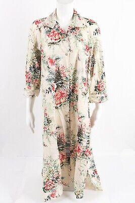 Zara Womens Floral Print Shirt Dress Size Medium A-Line Midi Button up 7718/035