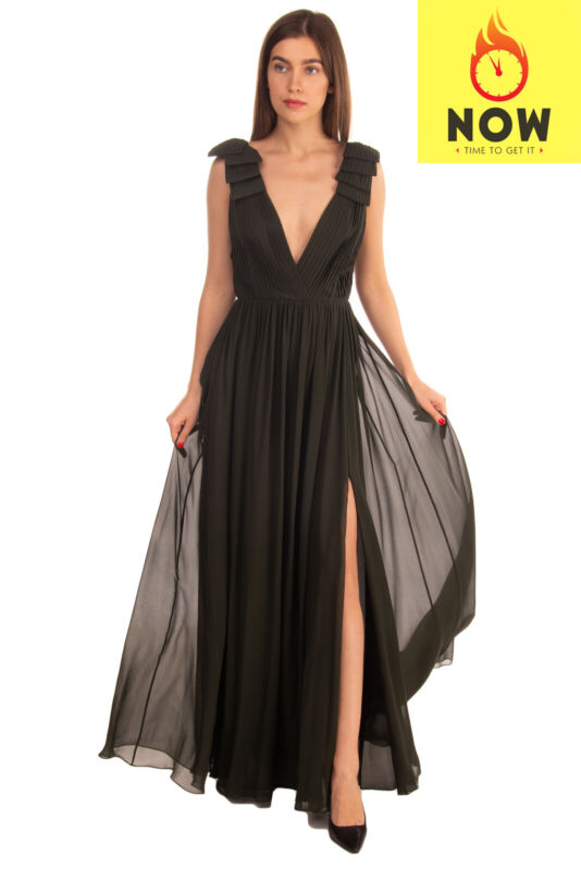 RRP €4140 ELIE SAAB Silk Pleated Gown Size 38 / M High Slit Plunge Neck