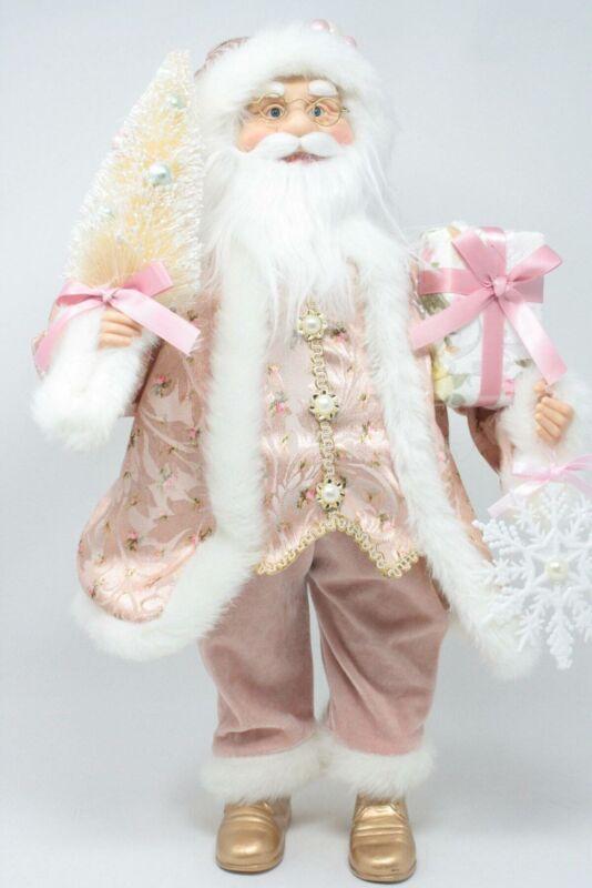 Kurt Adler Pink Santa Tabletop Figure Holding An Ivory Bottle Brush Tree Package