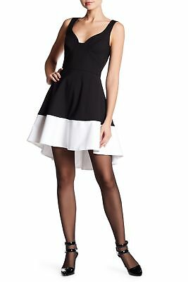 - NEW BLACK HALO Reese Colorblock HI LOW DRESS SIZE 6 $415 BLACK WHITE NORDSTROM