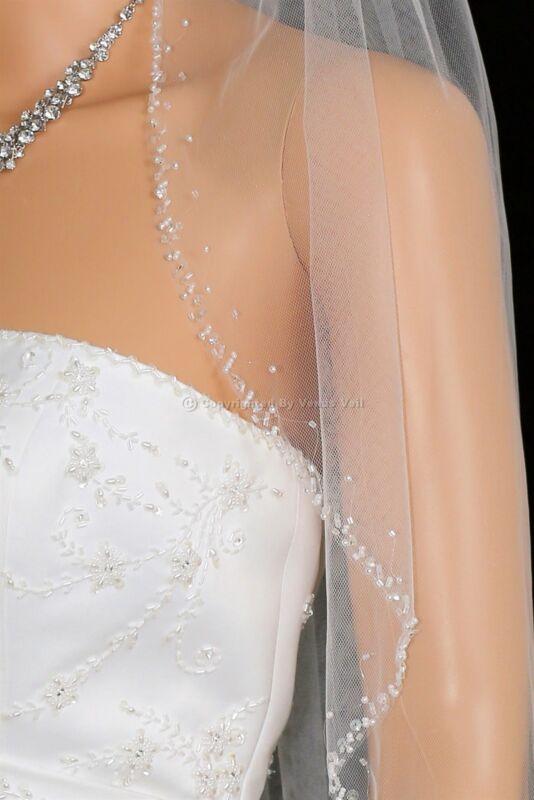 Handmade 1 Layer Bridal White / Ivory Fingertip Length Beaded Edge Wedding Veil
