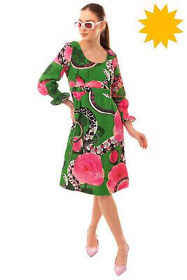 RRP€850 ROBERTO CAVALLI CLASS Empire Line Dress Size 40 S Cloque Floral & Snakes