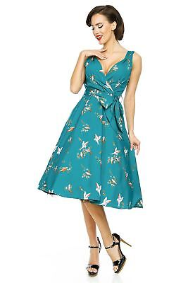 Looking Glam Retro Vintage 50's Pin Up Swing Dress in Swallow Bird Print - 50s Looks