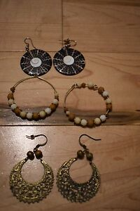 Earrings (shell, bead, metal)