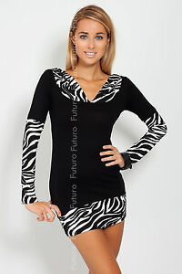 ☼ Womens Tunic With Hood Long Sleeve ☼ Animal Print V Neck Jumper Size 8-18 2026