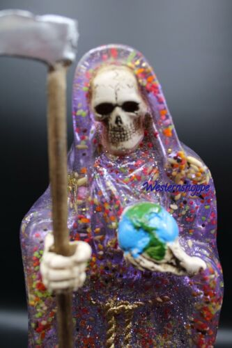 """Santa Muerte PurpleTranslusent Statue Fully Loaded Made in Mexico Large 12"""" Tall"""