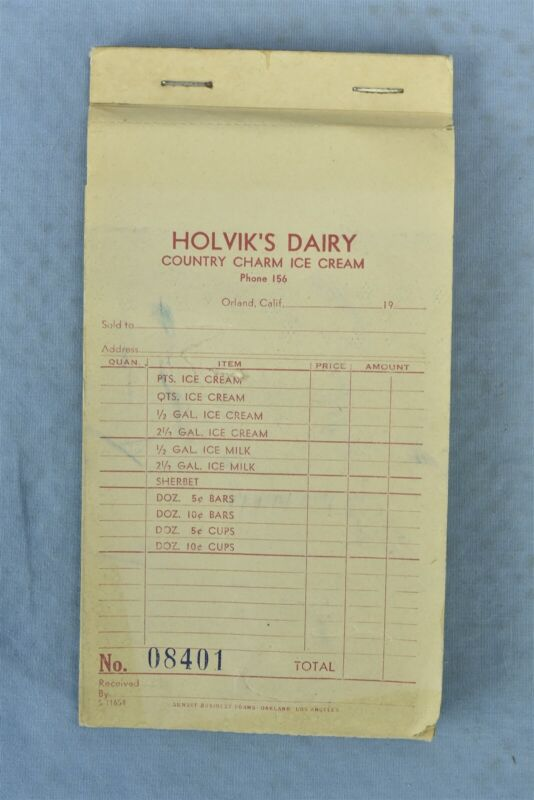 Vintage HOLVIKS DAIRY COUNTRY CHARM ICE CREAM ORLAND CA CARBON RECEIPT BOOK 0062