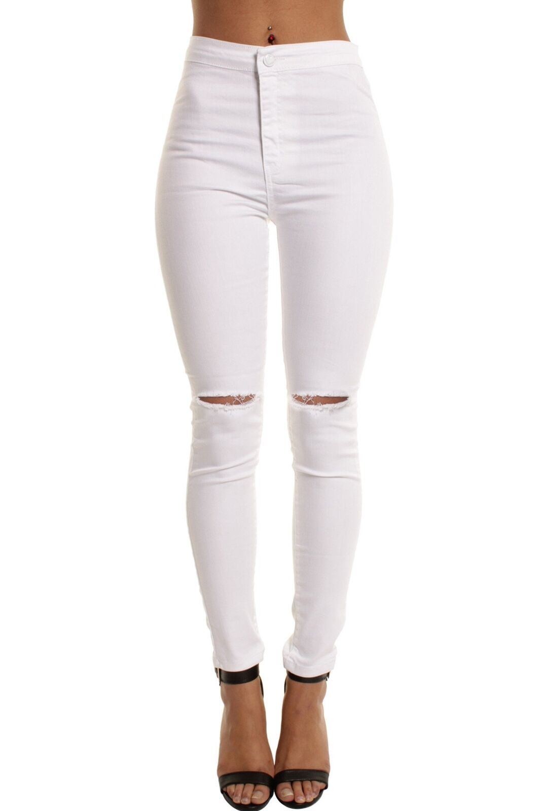 WOMENs LADIES HIGH WAISTED Denim SKINNY JEANS JEGGINGS Stretch Long Pants M 6-22
