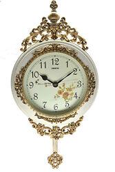 Fabulous Antique Style Linseng Pendulum Ivory Wall Clock 24 x 15