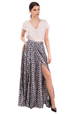 RRP €1060 PIERRE BALMAIN Silk Maxi Flare Skirt Size 40 / L Wrap Effect Patterned