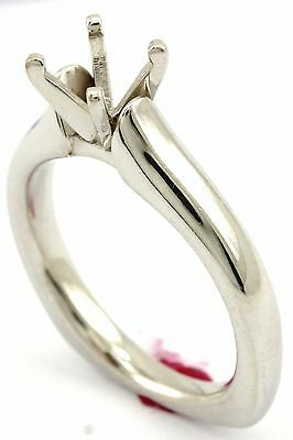 - NEW 14k white gold round solitaire engagement ring setting cathedral comfort fit