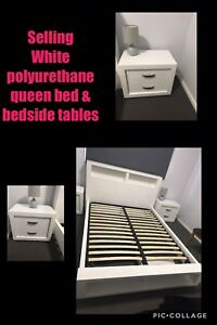Queen bed and bedside tables