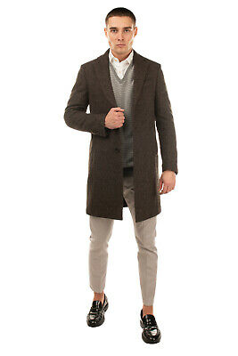 RRP €790 LARDINI Wool Coat Size 46 / S Partly Lined Button Front Made in Italy