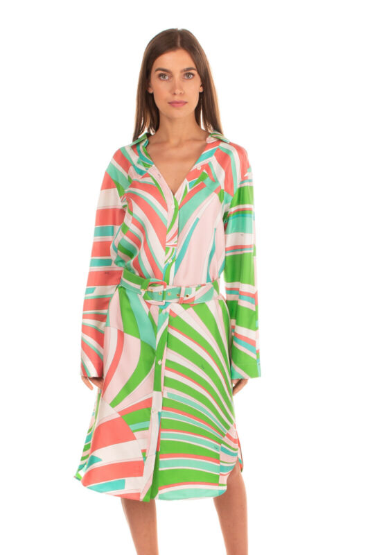 RRP €1765 EMILIO PUCCI Silk Shirt Dress Size 44 / M Mosaic Belted Made in Italy