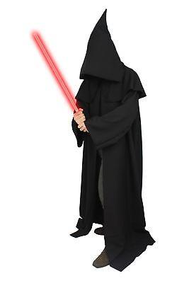 The Dragons Den Black Jedi Cloak Evil Sith Lord Adults Dark Side Fancy Dress