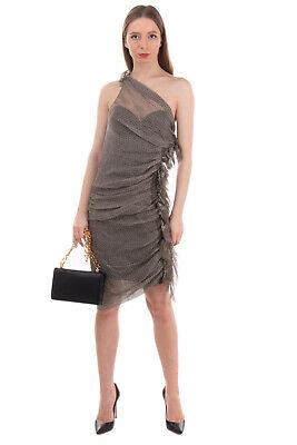 RRP€1990 ERMANNO SCERVINO Silk Draped Dress Size 42 / S-M Patterned One Shoulder