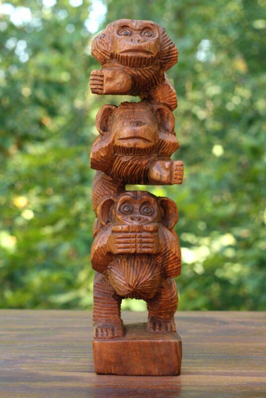 Wooden Hand Carved Stacked Three Monkeys See Hear Speak No Evil Figurines Statue