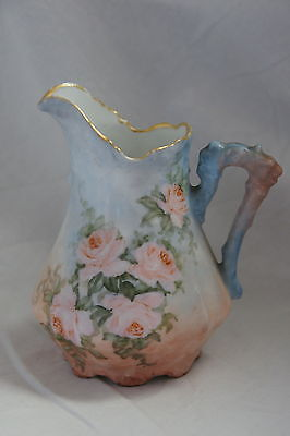 Vintage Small Pitcher Germany Blue Pink Flowers Porcelain