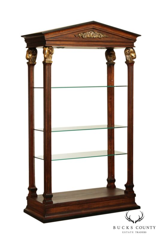 Ethan Allen Neo-Classical Style Pediment Top Etagere with Rams Heads
