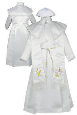 New Born Baby Boy Toddler Christening Baptism Stole Gown Suit 0-30M White Gold (Baby Boy Baptism)