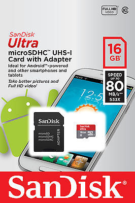 SANDISK ULTRA 16GB MICRO SD MICRO SDHC CLASS 10 80MB/S MEMORY CARD + SD ADAPTER