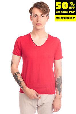 DANIELE ALESSANDRINI T-Shirt Top Size 52 Button Raw Edges Short Sleeve V Neck