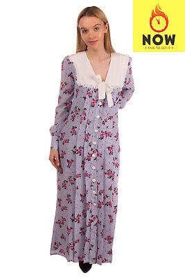 RRP €2325 ALESSANDRA RICH Silk Maxi Tea Dress Size IT 44 / M Floral Pleated
