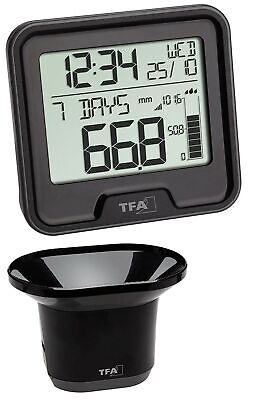 TFA 47.3005.01 Wireless Rain Gauge Drop Rain Gauge (Black with Batteries)