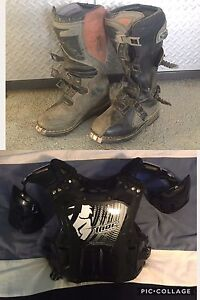 Motocross boots and chest protector for sale!