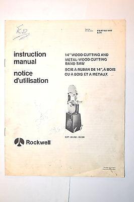 Rockwell Instruction Manual 14 Wood Metal-wood Band Saw 1979 Rr775 Bilingual