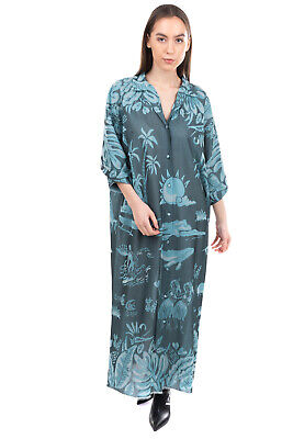 RRP €765 ALANUI Knitted Maxi Kaftan Dress Size S Silk Blend Hawaii Made in Italy