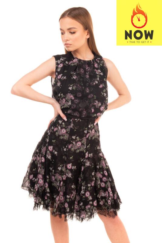 RRP €2805 GIAMBATTISTA VALLI Silk Flared Dress Size 44 / M Floral Lace Inserts