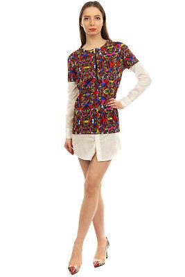 RRP€345 CHRISTIAN PELLIZZARI Mini Shirt Dress Size S Contrast Trim Made in Italy