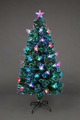 6ft Fiber Optic Christmas Tree Pre-Lit Xmas LED Lights Butterfly Decoration 180C