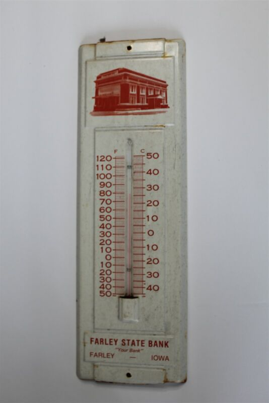 Vintage Farley State Bank Farley Iowa Metal Advertising Thermometer Dubuque Co.